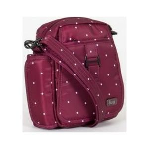 Lugz can can cranberry polkadot crossbody bag